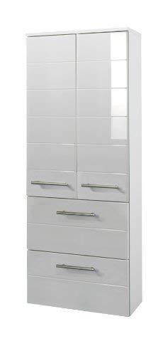 #Held Möbel 231.2084 Rimini Midischrank 2-türig, 2 Schubkästen, 2 Einlegeböden, 50 x 130 x 27 cm, hochglanz weiß#