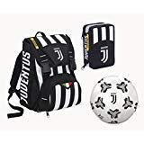 Seven - Schoolpack Juventus Bomber Zaino Sdoppiabile + Astuccio 3 ZIP + Pallone, 12358