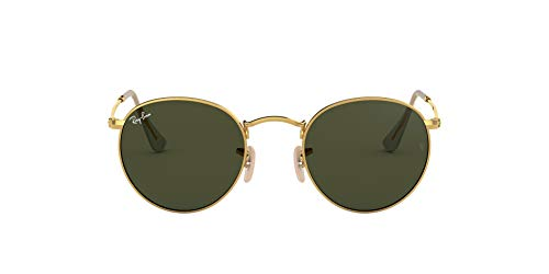 Ray-Ban Herren Sonnenbrille Round Metal, Gold (Arista/Crystal Green), 53