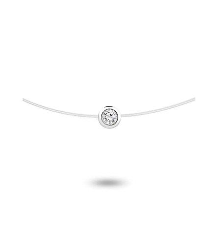 Tousmesbijoux - Collier diamant serti clos Or blanc 750/00 sur fil nylon