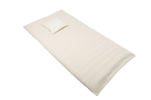Preisvergleich Produktbild Liege Set: Rollmatte 100x200 + Kopfkissen 40x40 mit Buchweizenfüllung und Bezug aus Baumwolle natur