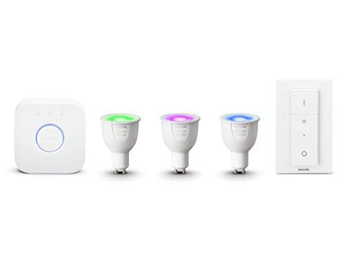 Philips Hue Kit de Démarrage White And Color Ambiance  3XGU10 6,5W [Pont et Interrupteur avec Variateur Inclus] - Fonctionne avec Alexa