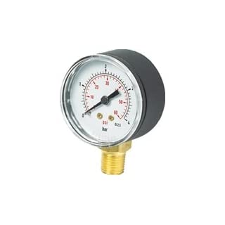 Glycerine Filled - Stainless Steel Pressure/Vacuum Gauge - Bottom Connection 1/2Inch BSPP - 100mm Dial/0-4 bar