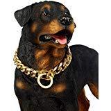 Abaxaca Martingale Hundehalsband groß 19 mm strapazierfähig stianless Stahl Gold Big Dog Choke Training Designer Halsband Halskette Kette Perfekt für Strongdog -
