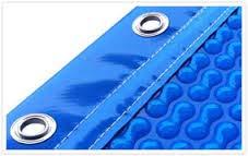 International Cover Pool Bâches Solaires pour Piscine 4x3 m Geo Bubble 400µ (avec lisières dans Les côtés étroits + Acier Inoxydable + Oeillets tendeurs dans Les Coins)