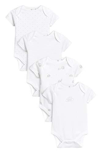 next Baby - Jungen Kurzarm-Bodys Mit Feinem Print 4Er-Pack Weiß 2-3 Jahre -