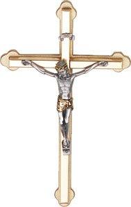 Da appendere alla parete 2-tone metal crocifisso croce OL10835con un doppio cuore amore token spilla (Tone Cuore Spilla)