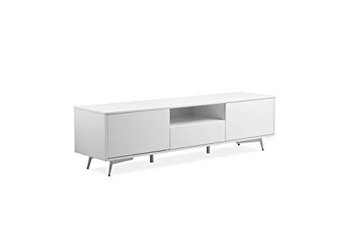 Meuble TV en Bois laqué Blanc 2 Portes 1 tiroir - Pieds métal Vintage - Style Contemporain - Collection Design Chic - Snow