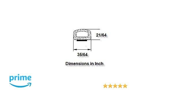 9,6 x 15 mm Joint de porte A074 creux en forme de D avec autocollant Noir
