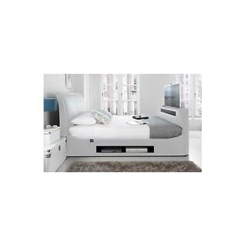 Super King Size Maximus White Leather Multi Media TV Bed Frame ...