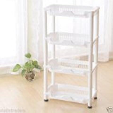 discountdealer2015ducha esquina estante en color blanco resistente a la corrosión unidad de almacenamiento de cocina 4estantes
