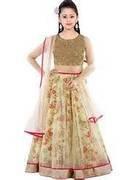 Dipak Fashion New Classy Kids Traditional Cream lehenga choli  available at amazon for Rs.215