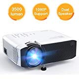 APEMAN Video Mini Portable Projector 3500 Lumen with Dual Built-in Speakers 45000 Hours LED Life Support HD 1080P HDMI/VGA/TF/AV/USB/TV Box/PS4/Smartphone for Home Theater Entertainment