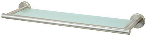 Axentia pared estante de cristal de Nápoles de baño estante de vidrio estante para baño, cocina y Salón de repisa para taladrar–Espejo de pared para baño, acero inoxidable, Plata, 54x 14x 6cm
