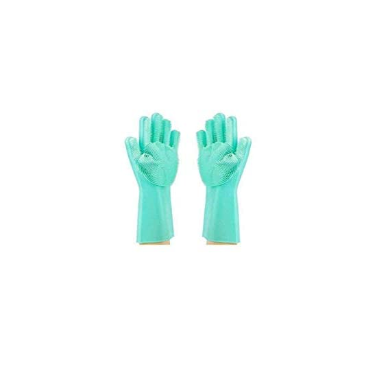 Homesoul Silicone handglove for Kitchen Dishwashing and Pet Grooming - Hand Glove for Washing Car and Bathroom, Large (1 Pair)