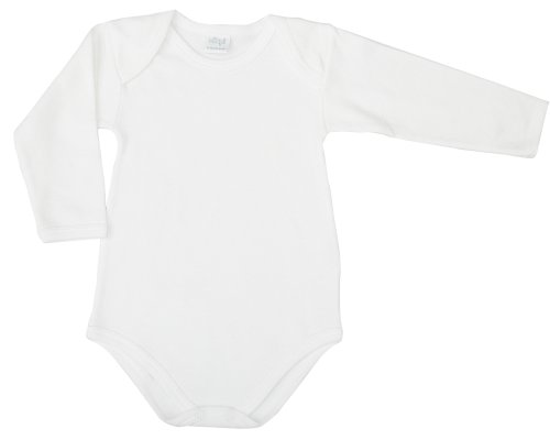 Ellepi AF890NR Body Americano Cotone Garzato Manica Lunga, Bianco, Taglia 2 Anni, 1 pezzo