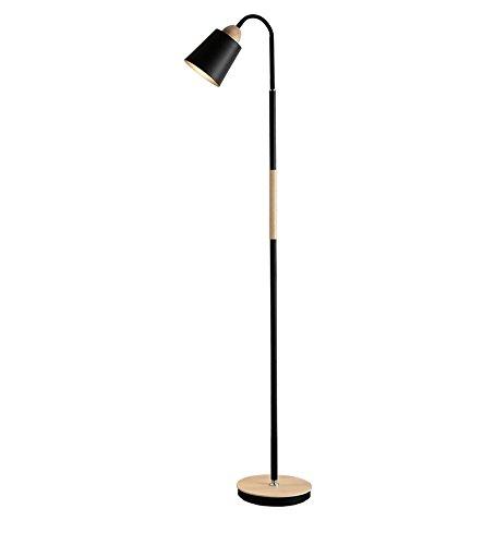 ZHDC® Lampe sur pied en bois massif, salon en métal table basse Étude de simplicité moderne Cabine de chevet bouton de commutateur haut 150cm lampadaire ( Couleur : Noir )