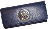 Michael Kors Fulton Flap Continental Leather Clutch Wallet in Navy