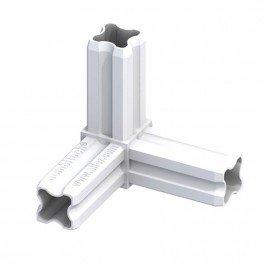 Connecteur angle 90°C blanc 3 embouts 23.5mm pour tube alu et pvc