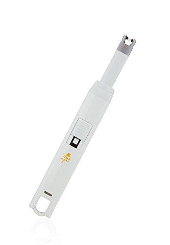 TESLA Lighter T07 | Lichtbogen Feuerzeug, Grillfeuerzeug, Stabfeuerzeug, BBQ, elektronisch wiederaufladbar, aufladbar mit Strom per USB, ohne Gas und Benzin, mit Ladekabel, in edler Geschenkverpackung, Weiß