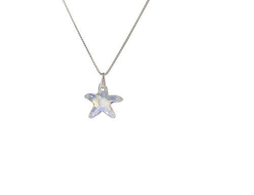 Kristallwerk, Kinderkette 925 Silber mit SWAROVSKI ELEMENTS Seestern Pendant in der Farbe Crystal Aurore Boreale