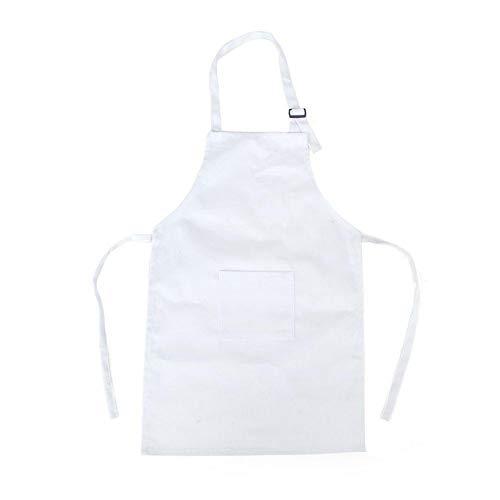 Depory - grembiule da cucina per bambini, in cotone, con tracolla regolabile, colore: bianco