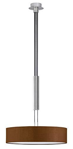 Trio Leuchten JoJo-Pendelleuchte in Nickel matt, Stoffschrim braun, exklusive 3x E27 maximal 60W, ø 50 cm, Höhe: 105 - 180 cm 303300314 -