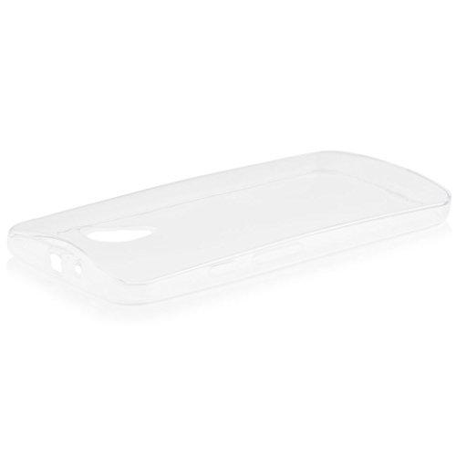Motorola Moto G 2 - (2. Gen.) | iCues Transparent TPU Case Klar | [Display Schutzfolie Inklusive] Transparent Klarsichthülle Durchsichtig Klare Klarsicht Silikon Gel Schutzhülle Hülle Cover Schutz