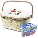 Juvale, cesto da cucito vintage e kit con materiale e accessori per cucire a mano, di forma ovale, 33cm x 22,9 cmx 15,2cm