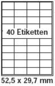 pripa - amazon FBA Versand Etiketten 52,5 x 29,7 - 40 Stueck auf A4 - 100 Blatt DIN A4 selbstklebende Etiketten