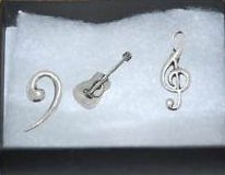 Boxed Gift Set of 3 Pewter Pin Badges-Music Acoustic Guitar, Treble Clef, Bass Clef,