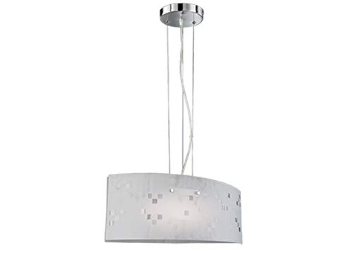Exklusive Pendelleuchte mit satiniertem Lampenschirm aus Glas in weiß mit dezentem Muster in Grautönen, Höhe 150cm, Schirm 50cm x 20cm -