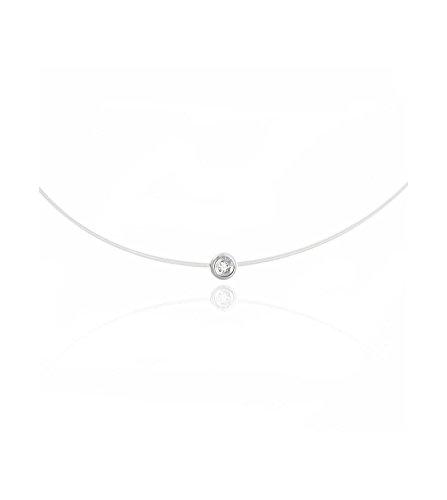 Tousmesbijoux - Collier rond diamant et argent sur fil transparent