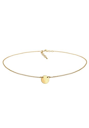 Elli Damen Schmuck Echtschmuck Halskette Kette Anhänger Choker Kreis Geo Blogger Basic Sterling Silber 925 Vergoldet Länge 36 cm