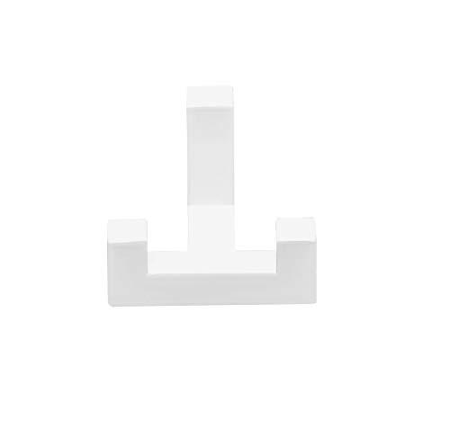 Gedotec Garderobenhaken Doppel-Haken weiß Huthaken eckig - TETRIS   Türhaken 2-fach   Kleiderhaken 40 x 52 mm   Wand-Haken Garderobe unsichtbar   1 Stück - Design Mantelhaken für die Wand-Montage -
