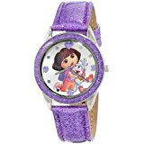 Frog Studio Home Nickelodeon Kids' DOR5004 Dora the Explorer Silver-Tone and Purple Glitter Watch