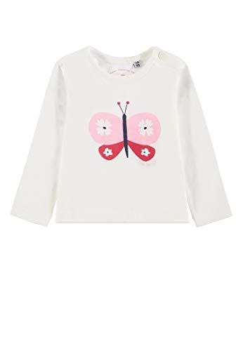 -Mädchen T-Shirt Placed Print Langarmshirt, Weiß (Cloud Dancer 1610), 74 ()
