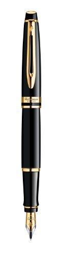 Waterman Expert Black Lacquer Gold Trim-Penna stilografica a punta fine by Waterman