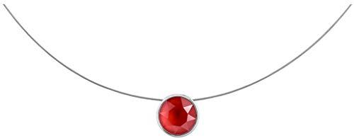 petra kupfer Damen Halskette Anhänger Schwebender Stein an dünner Edelstahl Kette Echter Swarovski Kristall leuchtendes rot stah1-royal-red