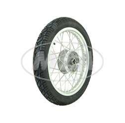 Preisvergleich Produktbild Komplettrad - Vorne - 1,5x16 Zoll - Alufelge poliert, Edelstahlspeichen, mit Vee Rubber-Reifen VRM094 montiert