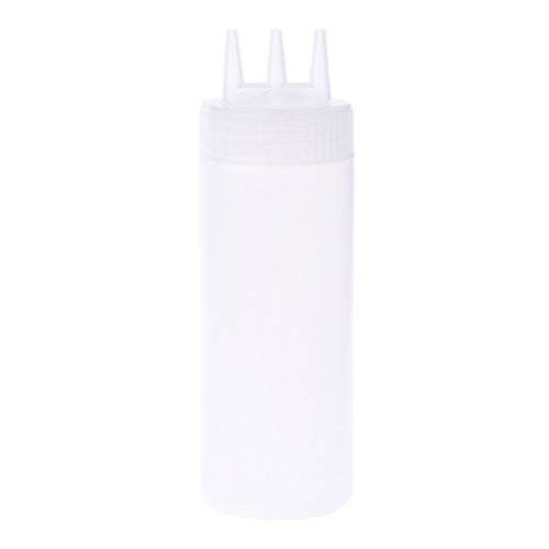 Runrain 3-Loch-Squeeze-Flasche Condiment Dispenser Sauce Essig Öl Ketchup Menage (Weiß) - Ketchup Squeeze Dispenser