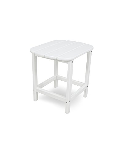 Polywood CASA Bruno South Beach Table d'appoint 48x38cm, polyéthylène PEHD, Blanc - résistance inconditionnelle aux intempéries