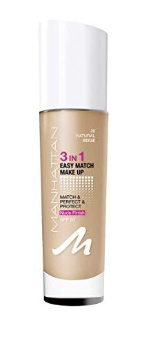 Manhattan 3in1 Easy Match Make Up, ölfreie Foundation für einen makellosen Teint, Farbe 39 natural beige, 30ml