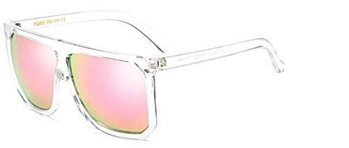 ZJMIYJ Sonnenbrillen Übergröße Frauen quadratische Sonnenbrille Designer Classic Sommer Standard Farben Flat Top Frame Brille Rosa