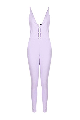 Lilas Lilac Womens Lily Deep Plunge Skinny Leg Jumpsuit - 8 Lilas