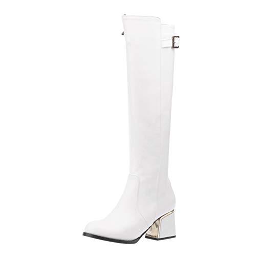 Maleya Chelsea Boots Damen Side Zip Winterstiefel Buckle Ankle Bare Stiefel Casual Short Tube Booties Klassische Lederstiefel Quadratischen High Heel Stiefeletten Elegant Party Stiefel -