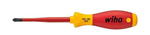 Wiha Schraubendreher SoftFinish® electric slimFix Pozidriv (35396) PZ2 x 100 mm für tiefliegende Schrauben, ergonomischer Griff für kraftvolles Drehen, Allrounder für Elektriker, VDE-geprüft, stückgeprüft