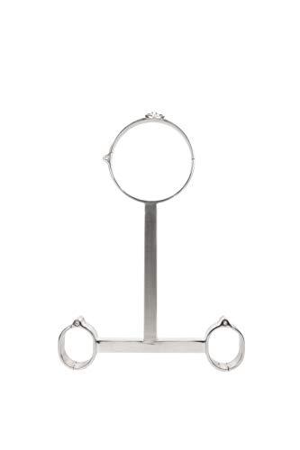 Extasialand Fesselstange mit Handschellen & Halsband aus Edelstahl für Frauen- Handschellen Erotik mit Spreizstange dem Fesselset für Bondage & Unterwerfung beim Fessel-Sex