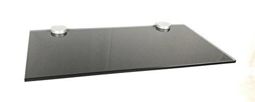 10 mm Glasregal Wandregal 60x30 cm Schwarz lackiertes Glas, Clip BASKET5 silbermatt/1 Regal