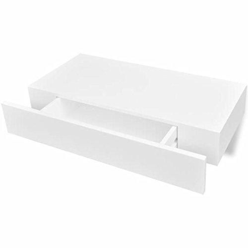 VidaXL Estantería suspendida Tablero MDF Blanco cajón